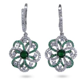 Flower Design Earrings (green Color)