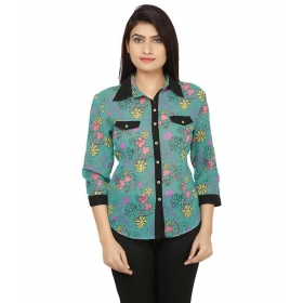 Green Poly Georgette 3/4th Sleeves Shirts