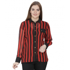 Red Poly Georgette Shirts