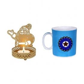 Santa Claus Shadow Lamp With India Cricket Team Mug Gift Hamper