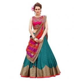 Green Bangalore Silk Circular Semi Stitched Lehenga