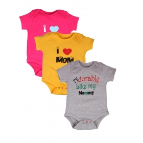 Pack Of 3 Infants Body Suit Mom And Dad -2 Printed Tshirts