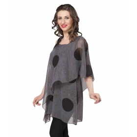 Gray Poly Georgette Tops