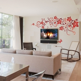 Ay1702 Red Butterfly Nature Wall Sticker  Jaamso Royals