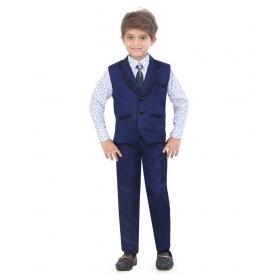 Blue Silk Boys Waistcoat Set