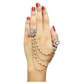 White Pearl Austrian Stone Tassel Chain Double Finger Ring-1503203b