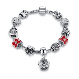 Crystal Elements Crown Inspired Magnificent Pandora Style Floral Platinum Plated Char
