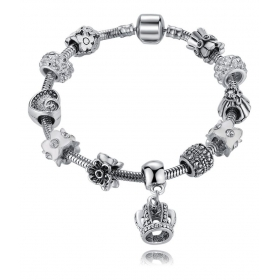 Crystal Elements Crown Inspired Magnificent Pandora Style Floral Platinum Plated Charm Bracelet For Women/girls