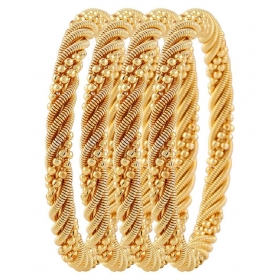 Gold Plated Bangles For Women - Set Of 4