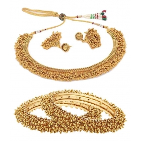 Galaxy Golden Designer Bangles With Necklace Set - Pack Of 2