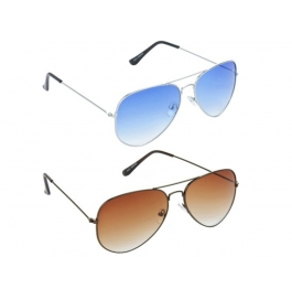 Sunglasses Blue And Brown Shade Aviator Goggles For Man Combo (pack Of 2)