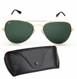 Sunglasses Aviator green Goggles With leather Cover