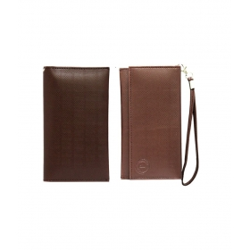 Leather Wallet Universal Pouch Cover Case For Nokia Lumia 710 - Brown