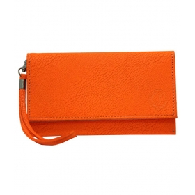 Leather Wallet Universal Pouch Cover Case For Micromax C350 Orange