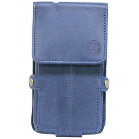 A6 Nillofer Series Leather Pouch Holster Case For Xolo Omega 5.0 - Dark Blue