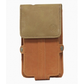Leather Pouch Holster Case For Lg Optimus L9 Ii - Orange & Tan
