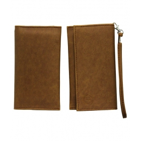Leather Wallet Universal Pouch Cover For Samsung Galaxy S6 Edge Plus-tan