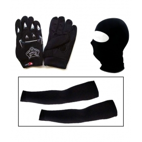 Combo Of Black Bike Gloves, Balaclava Face Mask And Arm Sleeves