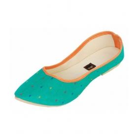 Green Flat Ethnic Footwear