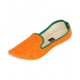 Orange Flat Ethnic Footwear