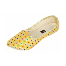 Yellow Flat Ethnic Footwear