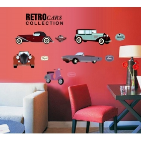 Ay7213 Vintage Cars Models Wall Sticker  Jaamso Royals