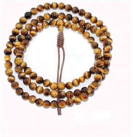 Tigers Eye Mala Quartz Stone Necklace