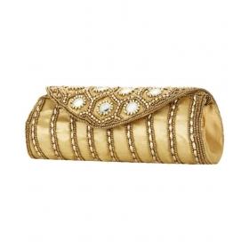 Gold Silk Box Clutch