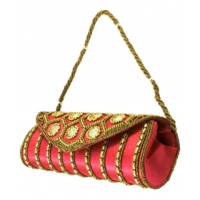 Pink Silk Box Clutch