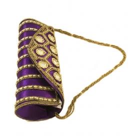Purple Silk Box Clutch