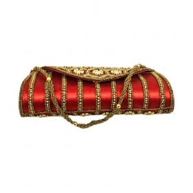 Red Silk Box Clutch