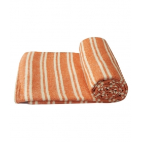 Cotton Orange & White Striped Yoga Blanket- (220 X 129 Cm)(l X W Cm)