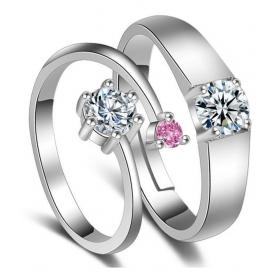 Platinum Plated Elegant Couple Adjustable Ring
