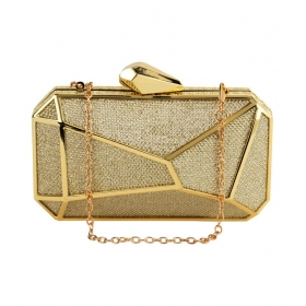 Gold Canvas Box Clutch