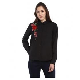 Black Full Sleeves Polyester Shirt