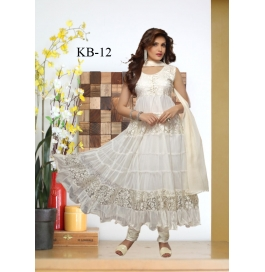 Kala Boutique Creation White Net Embroidery Work Dress Material
