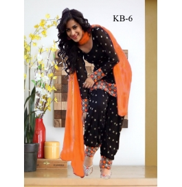Kala Boutique Creation Orange & Black Cotton Embroidery Work Dress Material