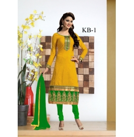 Kala Boutique Creation Yellow  Chenderi Cotton Embroidery Work Dress Material