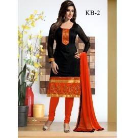 Kala Boutique Creation  Black Chenderi Cotton Embroidery Work Dress  Material