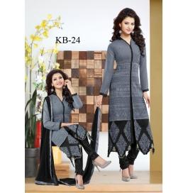 Kala Boutique Creation  Grey Black Cotton Embroidery Work Salwar Suit