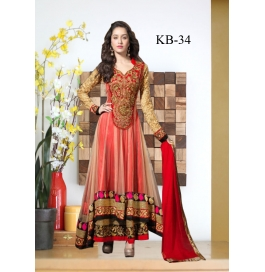 Kala Boutique Creation Red Net Embroidery Work Material