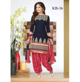 Kala Boutique Creation Blue & Pink Cotton Embroidery Work Dress Material
