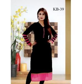 Kala Boutique Creation Black Cotton Kurti