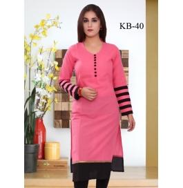 Kala Boutique Creation Pink Cotton Kurti