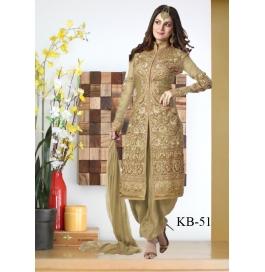 Kala Boutique Creation Gold Gerogette Embroidery Worksalawar Suit