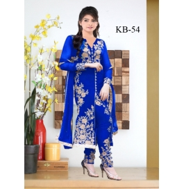 Kala Boutique Creation Blue  Georgette Embroidery Work Dress Material