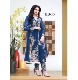 Kala Boutique Creation Nevy Blue  Georgette Embroidery Work Dress Material