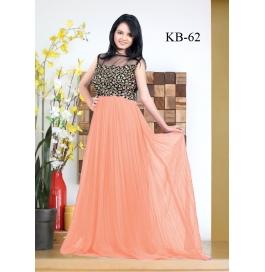 Kala Boutique Creation Orange Gerogette Embroidery Work Gown