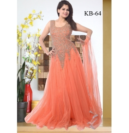 Kala Boutique Creation  Orange Net Embroidery Work Gown