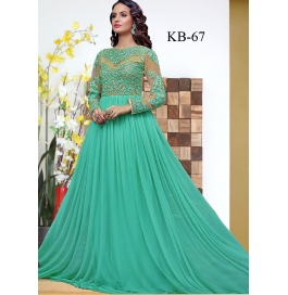 Kala Boutique Creation Green Gerogette Embroidery Work Gown